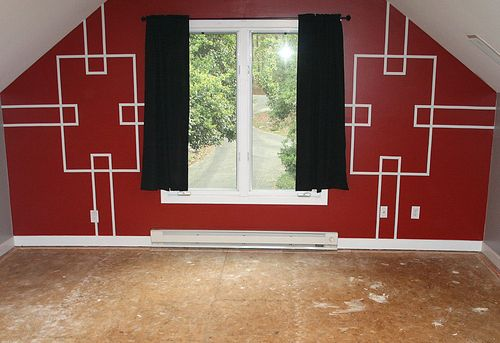 Red geometric walls