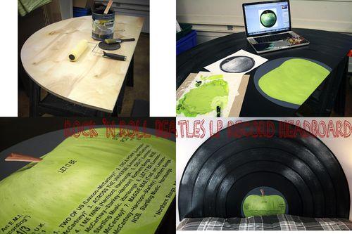 Rock n roll Beatles LP record headboard